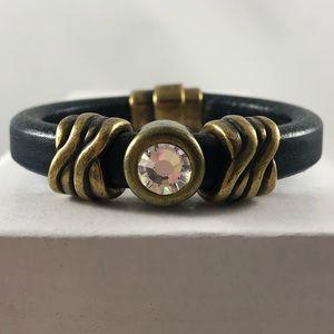 Bezel Set Crystal Slider Licorice Leather Bracelet